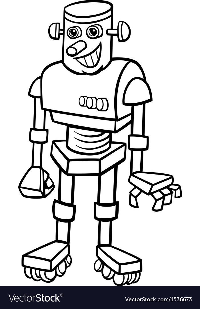 Robot cartoon for coloring vector | Price: 1 Credit (USD $1)