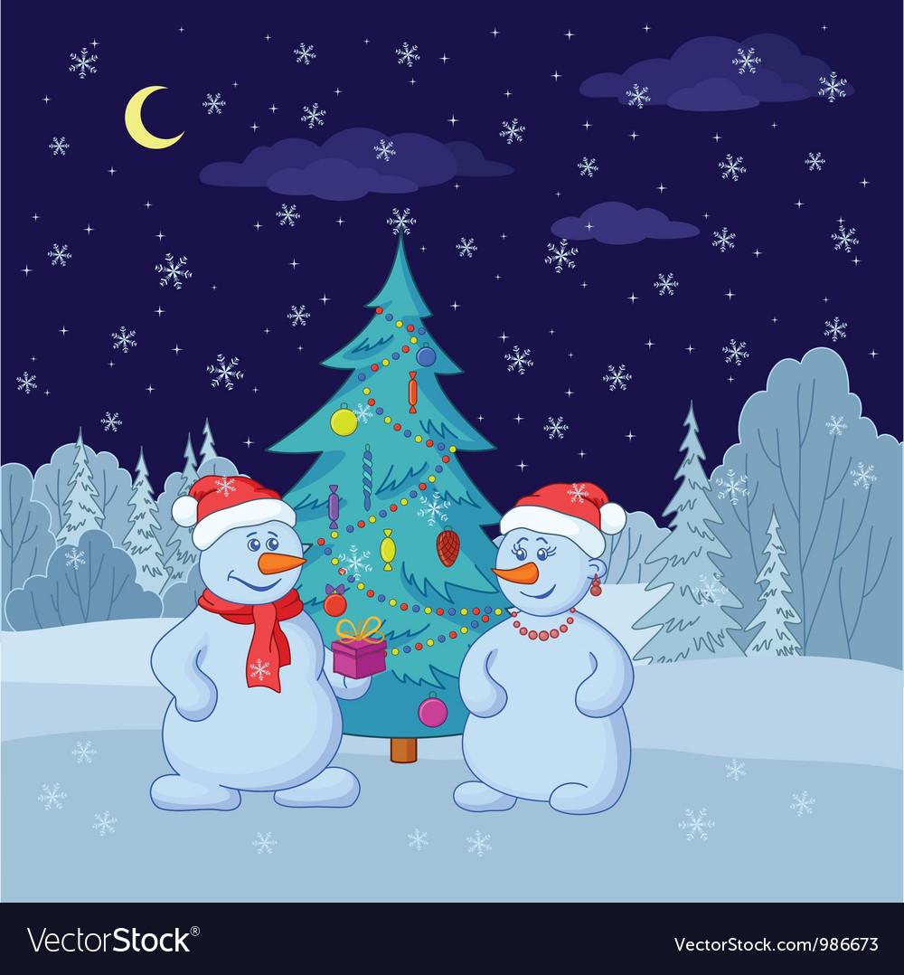 Snowmans near christmas tree in vector