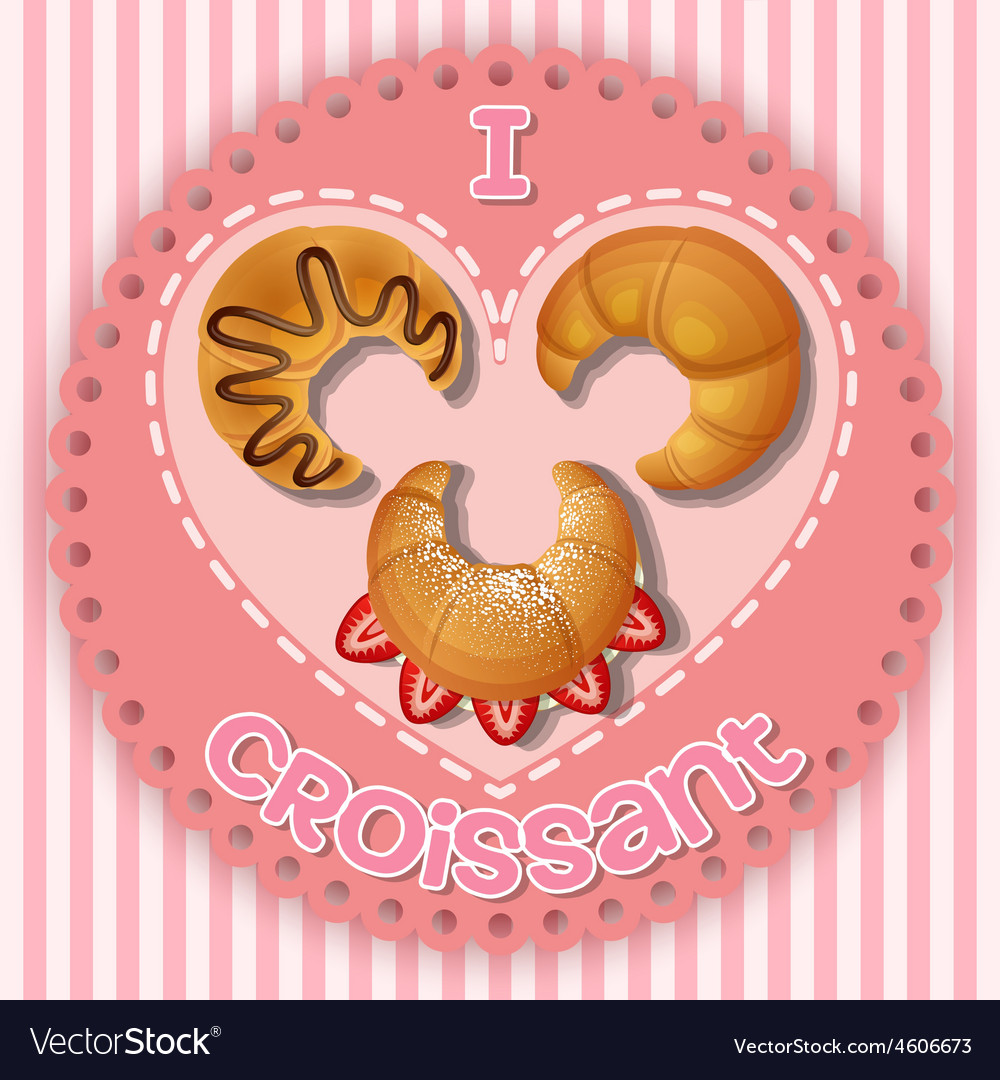 Strawberry chocolate and plain croissant on heart vector | Price: 1 Credit (USD $1)