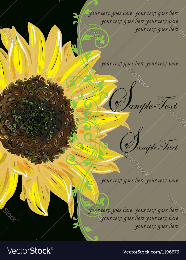 Vintage elegant sunflower wedding invitation vector | Price: 1 Credit (USD $1)