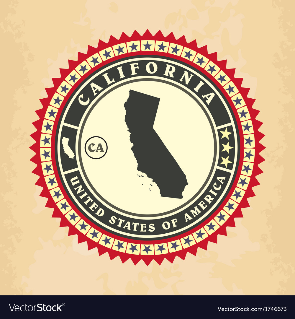 Vintage label-sticker cards of california vector | Price: 1 Credit (USD $1)