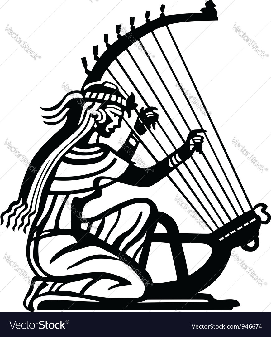 Ancient woman playing harp vector | Price: 1 Credit (USD $1)