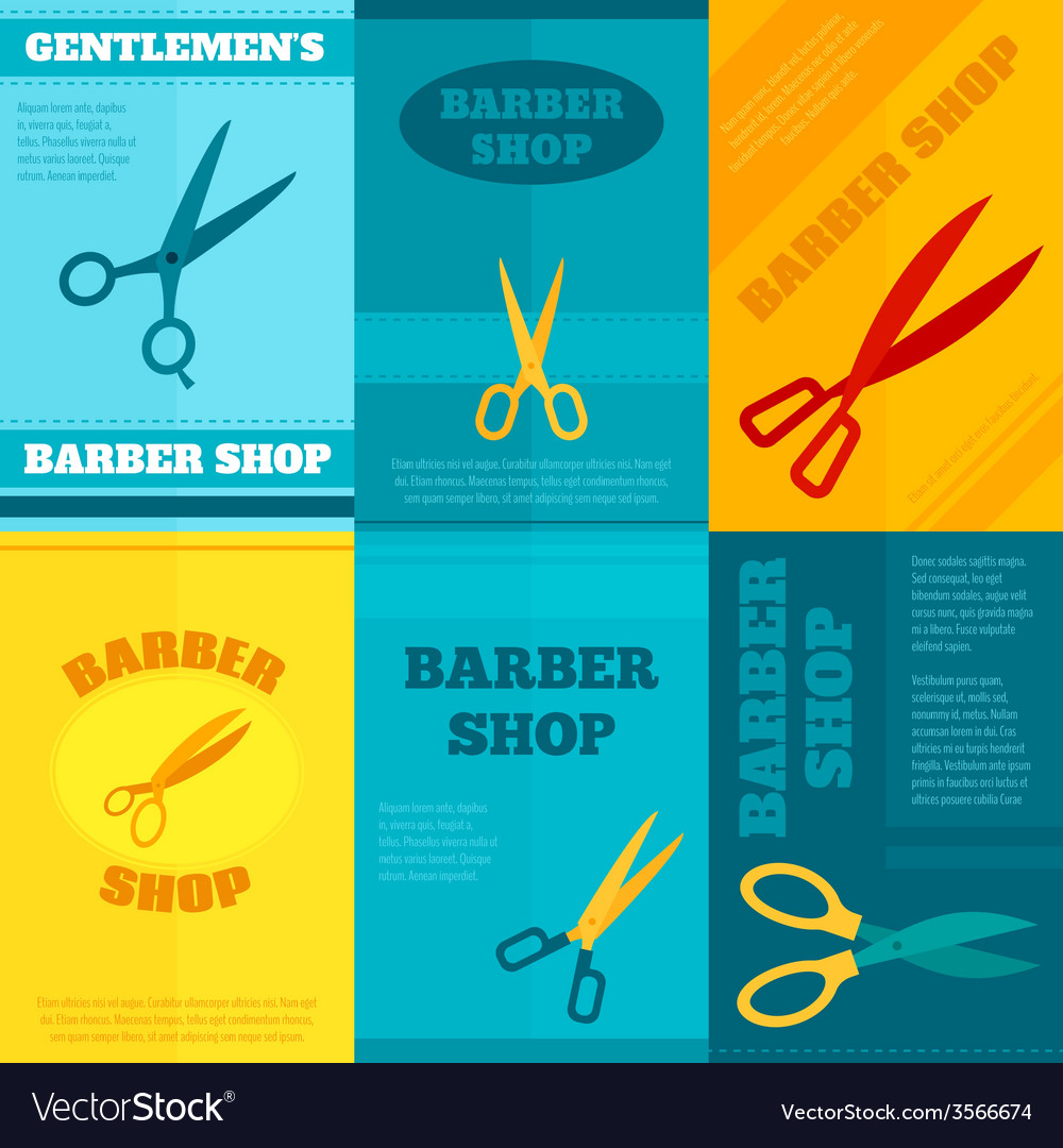 Barber poster set vector | Price: 1 Credit (USD $1)