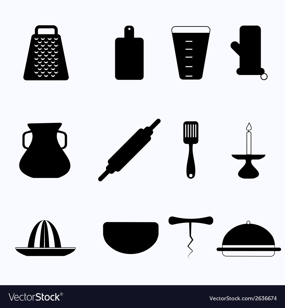 Black icons for kitchenware vector | Price: 1 Credit (USD $1)