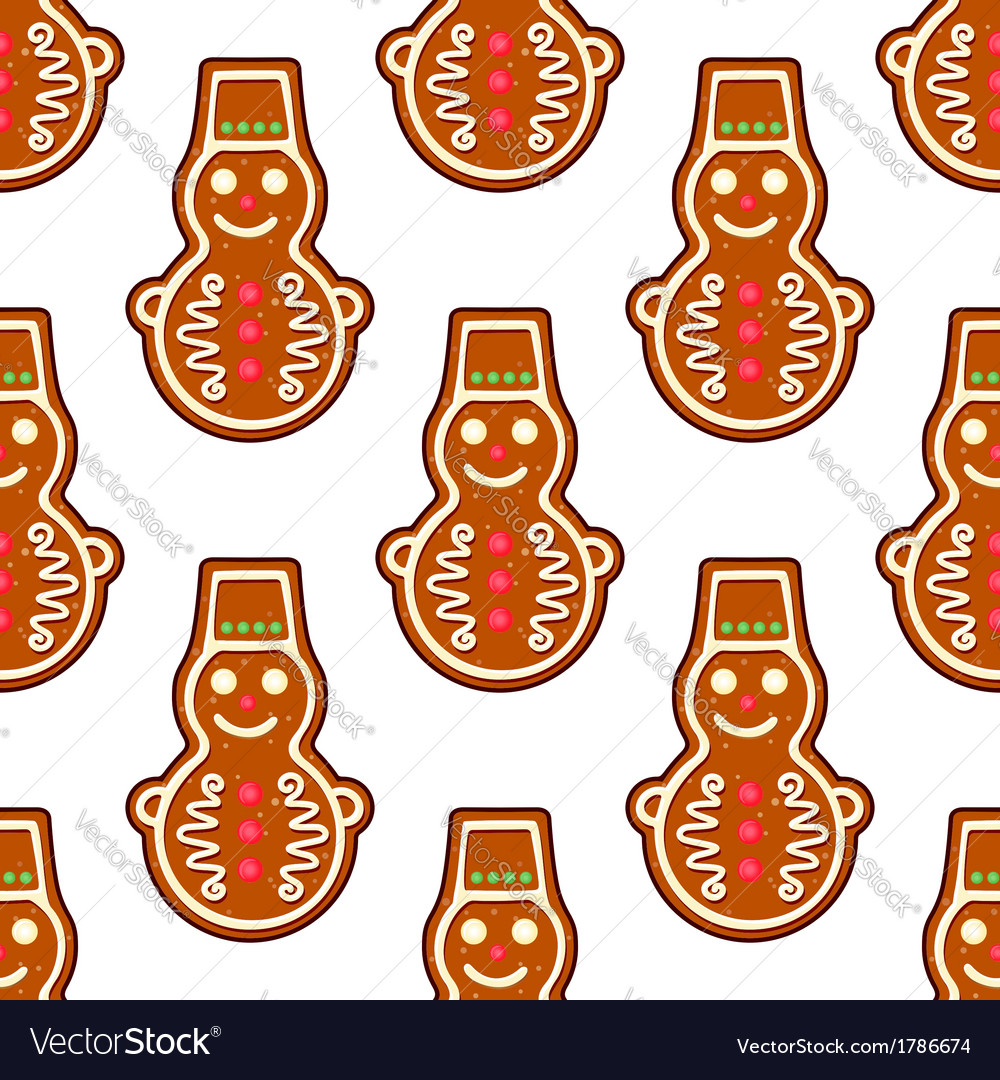 Gingerbread snowman seamless pattern vector | Price: 1 Credit (USD $1)