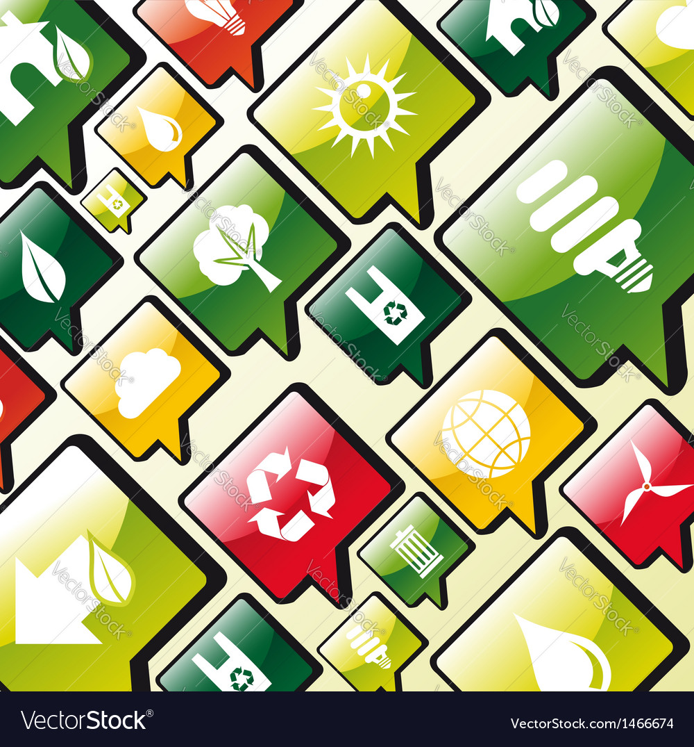 Green environment apps icons background vector | Price: 1 Credit (USD $1)