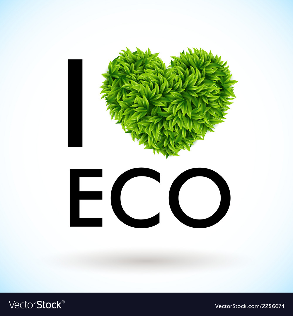 I love eco heart made of leaves vector | Price: 1 Credit (USD $1)