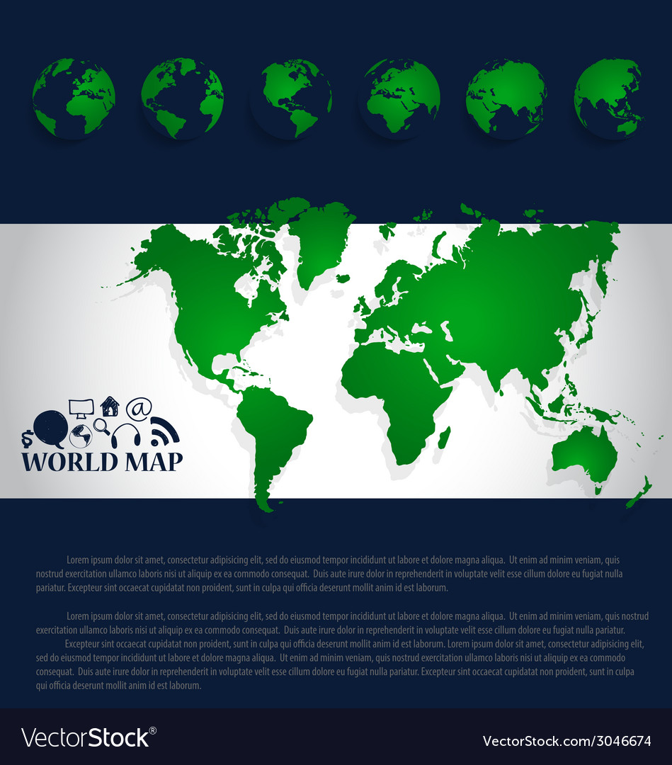 Modern world map design vector | Price: 1 Credit (USD $1)
