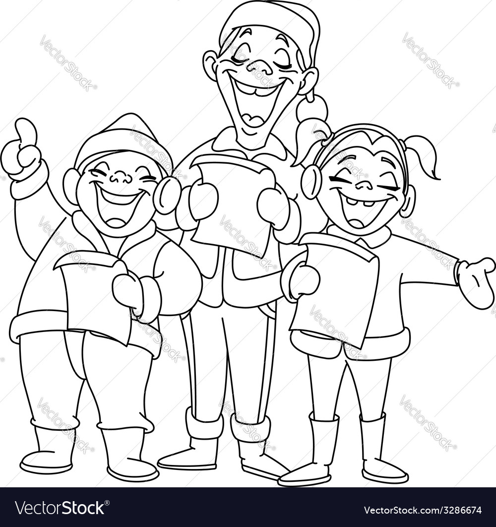Outlined christmas carolers vector | Price: 1 Credit (USD $1)