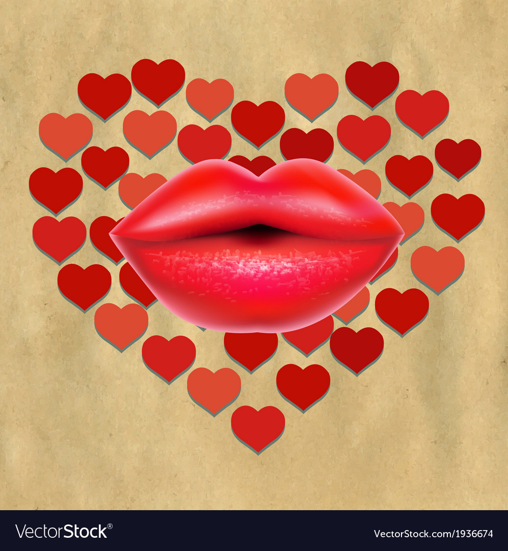 Red lips with hearts and paper vector | Price: 1 Credit (USD $1)