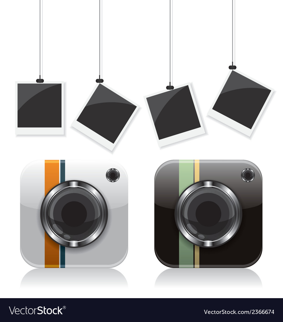 Retro camera icons and photo frame vector | Price: 1 Credit (USD $1)