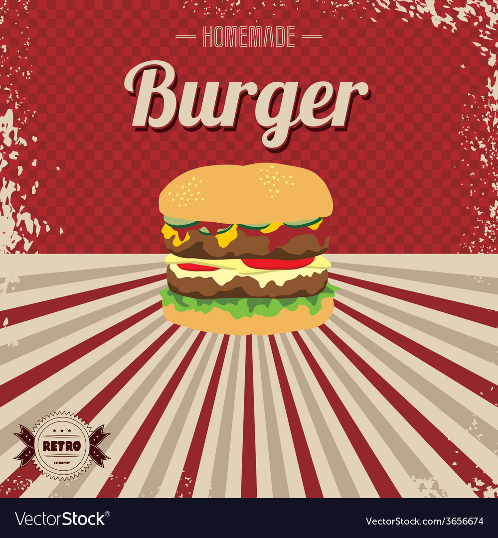 Retro fast food page template vector | Price: 1 Credit (USD $1)