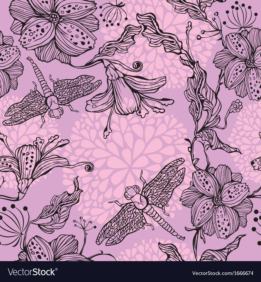 Seamless floral pattern with hand-drawn flowers vector | Price: 1 Credit (USD $1)