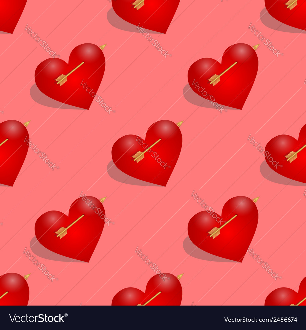 Seamless pattern of hearts with arrow vector | Price: 1 Credit (USD $1)