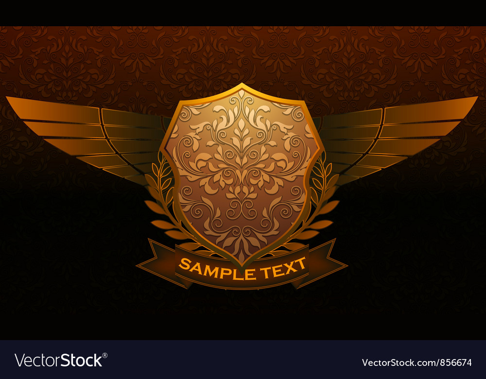 Vintage emblem with damask background vector | Price: 1 Credit (USD $1)