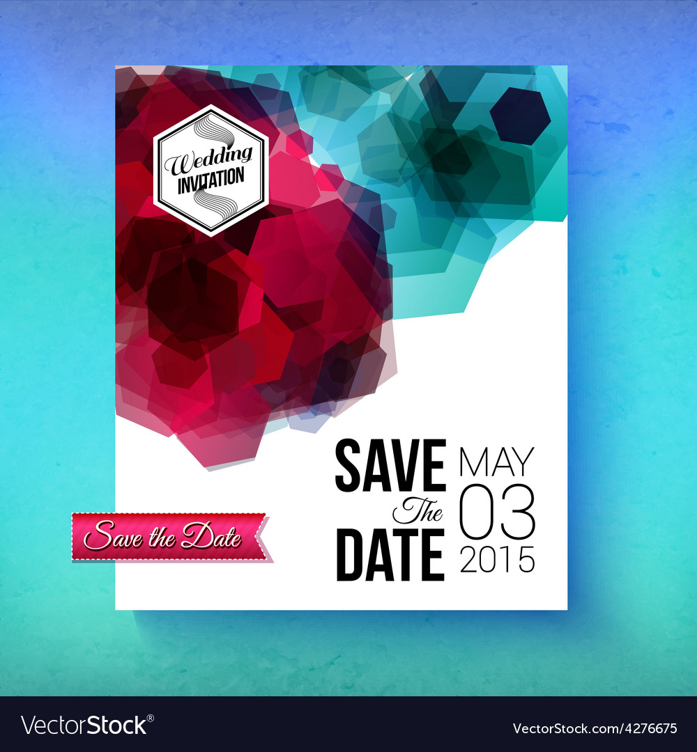Artistic romantic save the date wedding template vector | Price: 1 Credit (USD $1)