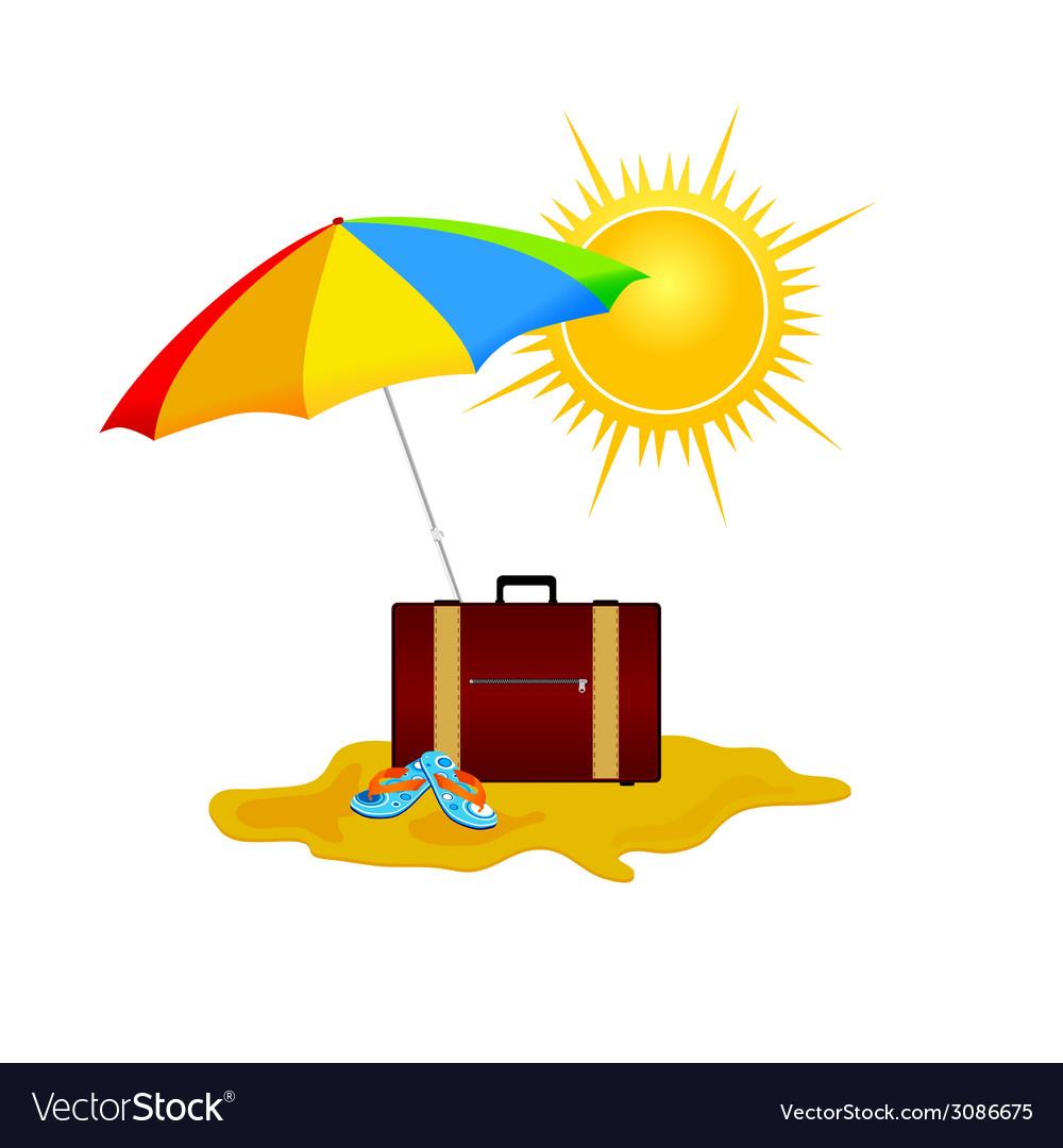 Beach on a color vector