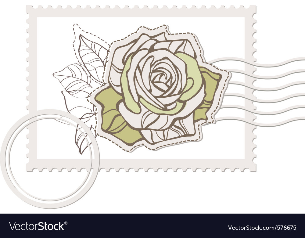 Blank post stamp with rose vector | Price: 1 Credit (USD $1)