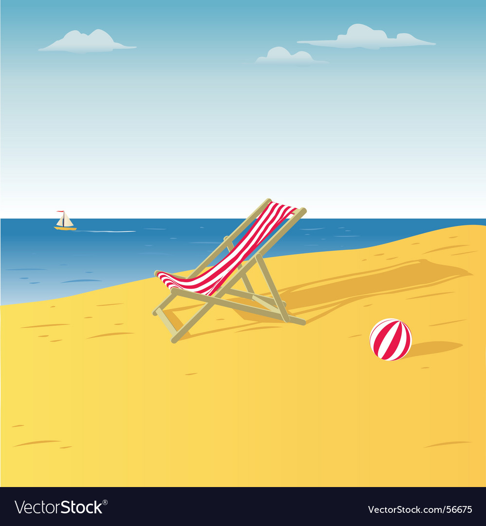 Chair on a beach vector | Price: 1 Credit (USD $1)
