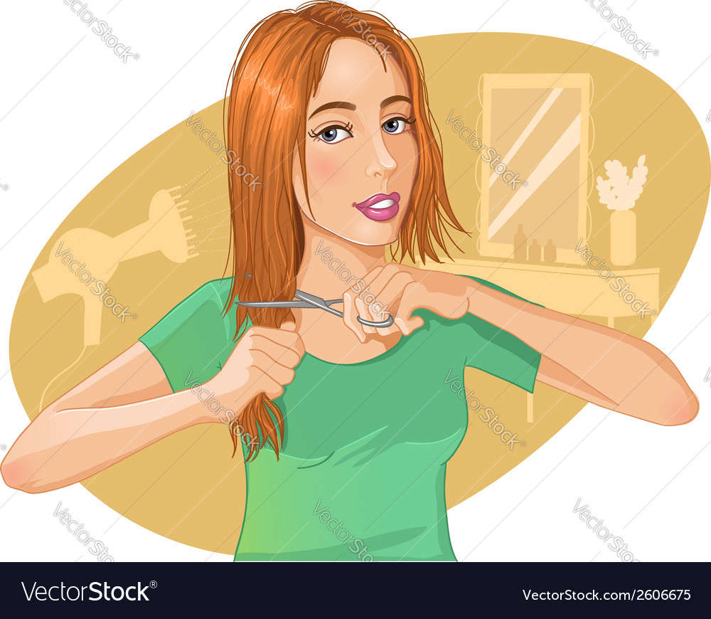 Cute young brown-haired woman cut her hair with vector | Price: 1 Credit (USD $1)