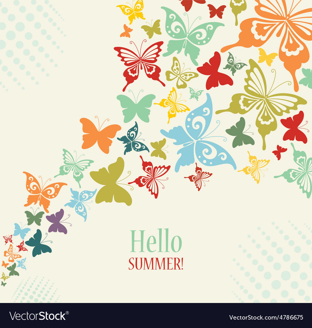 Decorative vintage background with butterflies vector | Price: 1 Credit (USD $1)