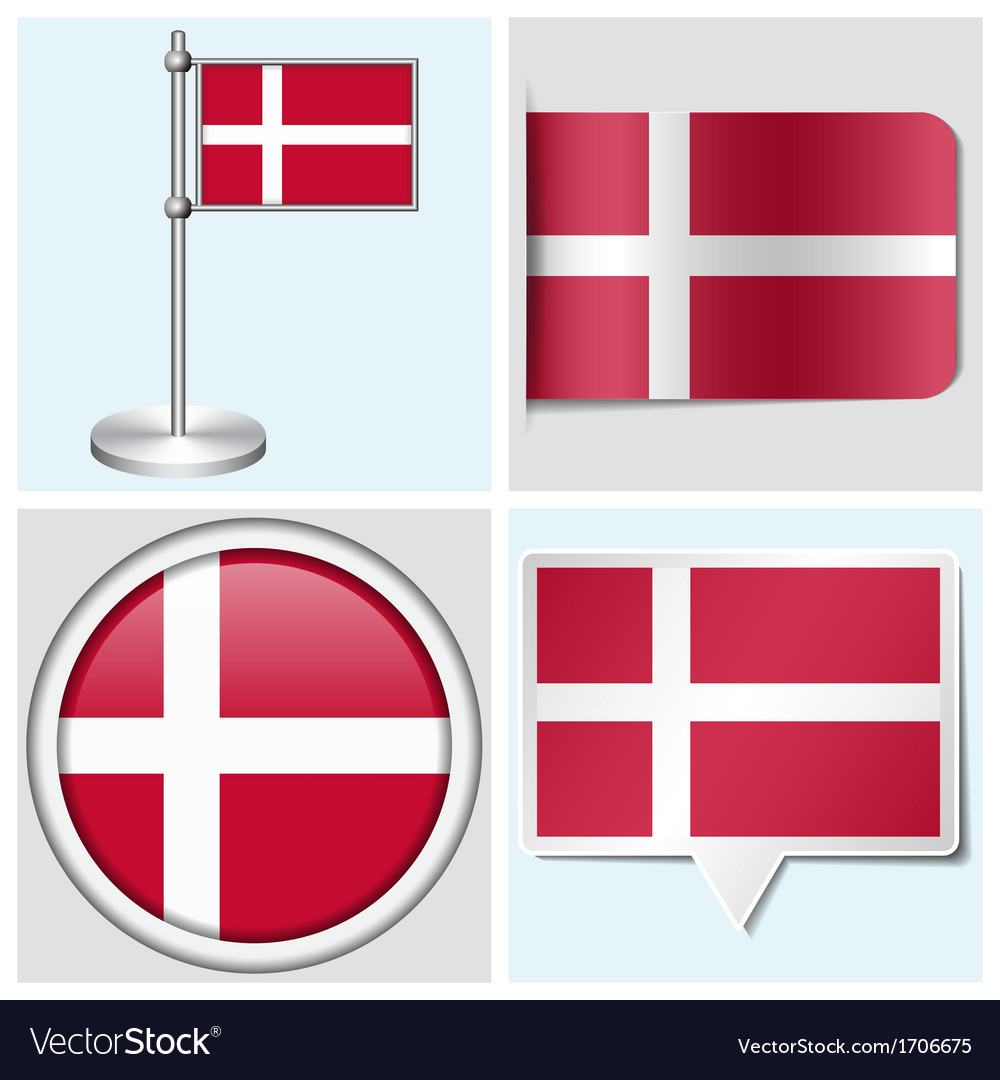 Denmark flag - sticker button label flagstaff vector | Price: 1 Credit (USD $1)