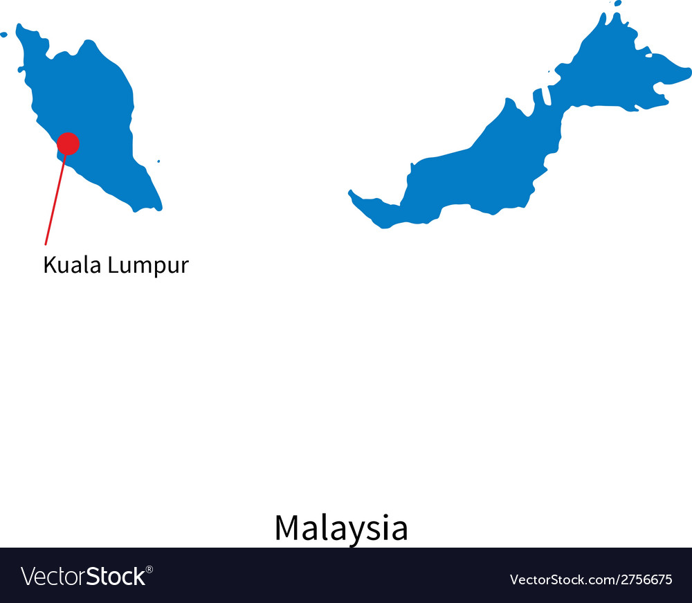 Detailed map of malaysia and capital city kuala vector | Price: 1 Credit (USD $1)