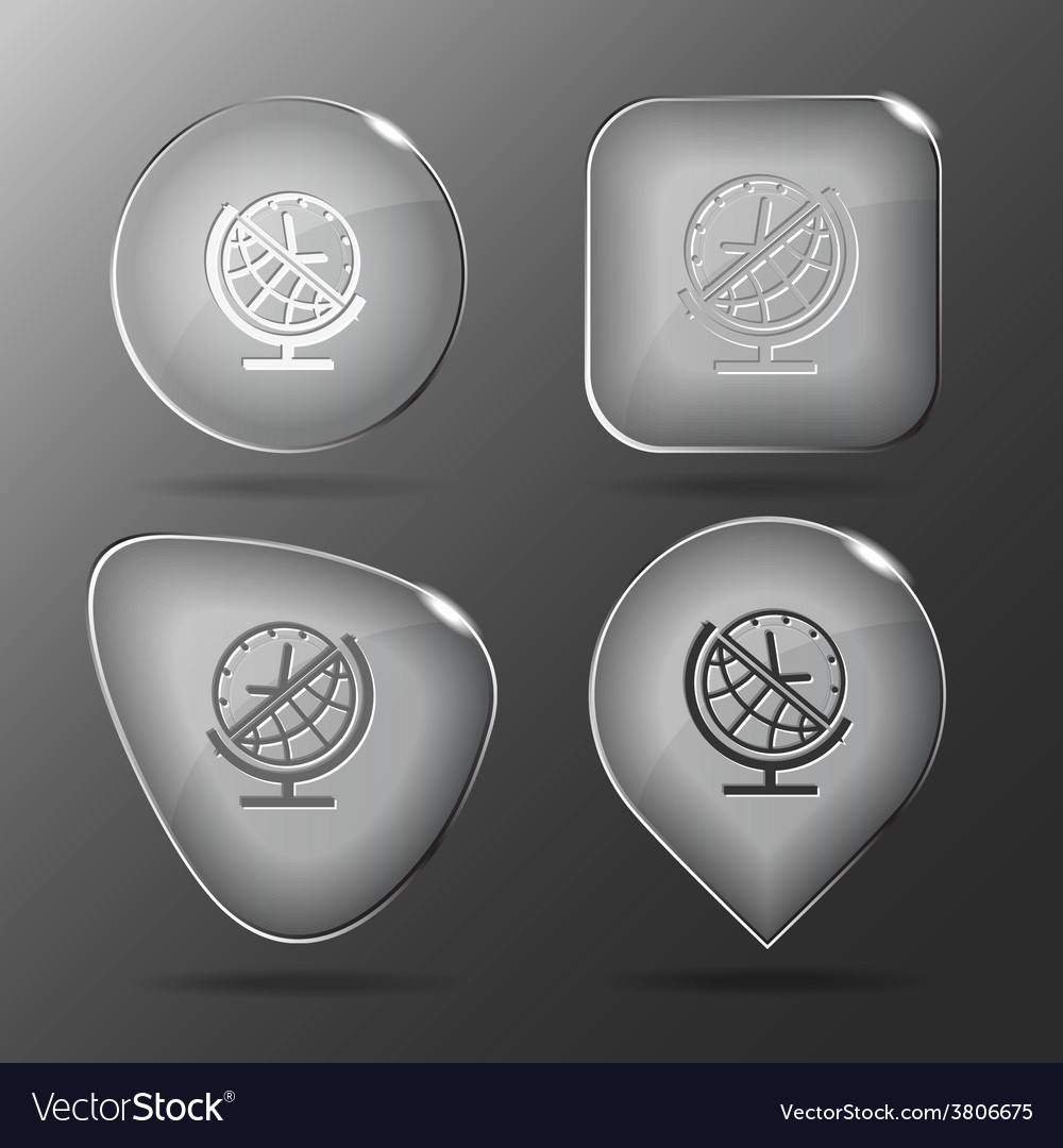 Globe and clock glass buttons vector | Price: 1 Credit (USD $1)