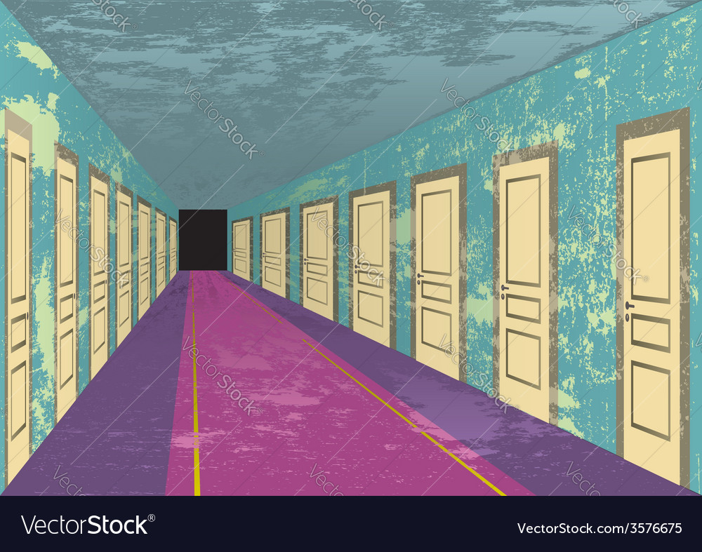 Grungy abandoned hotel hall vector | Price: 1 Credit (USD $1)