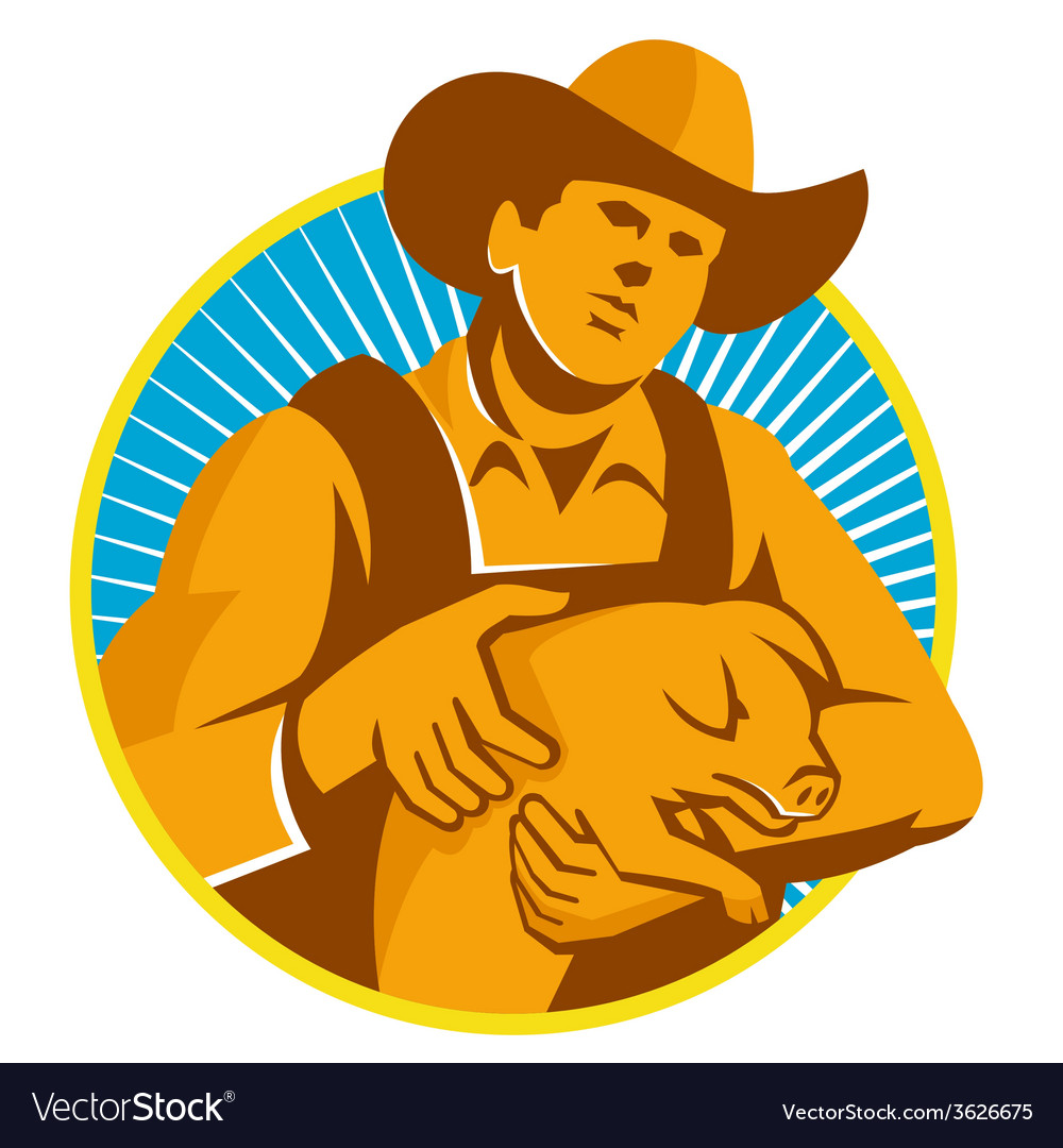 Pig farmer holding piglet front retro vector | Price: 1 Credit (USD $1)