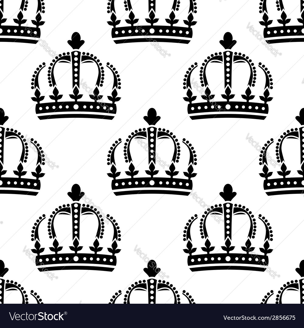 Seamless pattern of vintage royal crowns vector | Price: 1 Credit (USD $1)