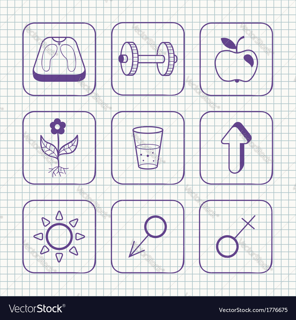 Sketches simple medical icons set vector
