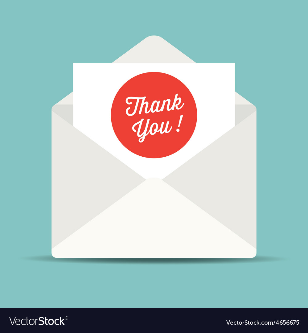 Thank you mail card vector