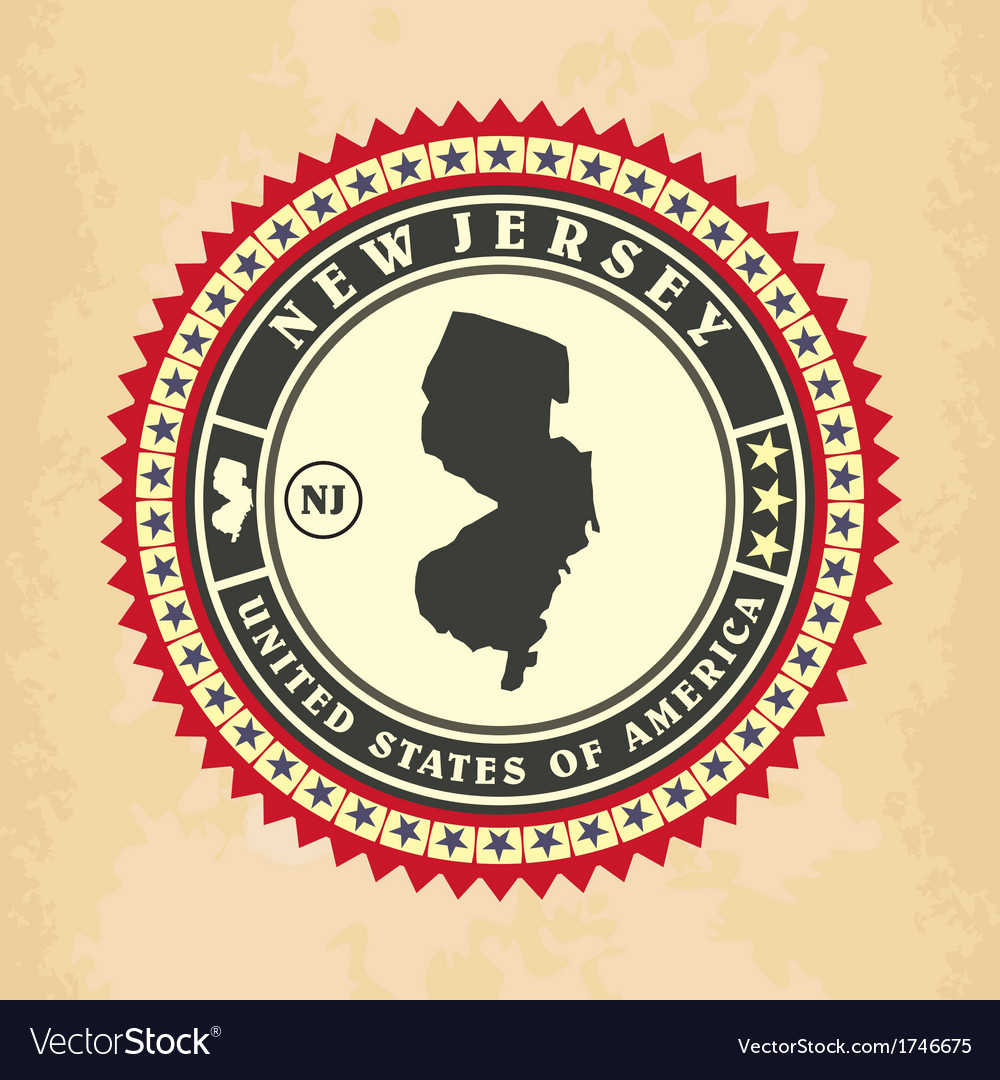 Vintage label-sticker cards of new jersey vector | Price: 1 Credit (USD $1)