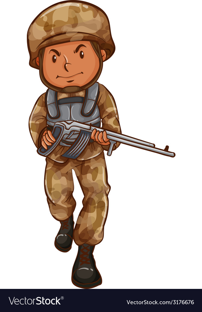 A drawing of a soldier with a gun vector | Price: 1 Credit (USD $1)
