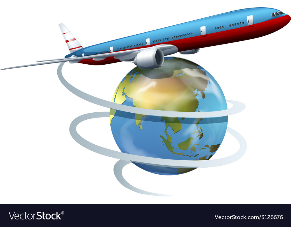 A plane travelling around the globe vector | Price: 1 Credit (USD $1)