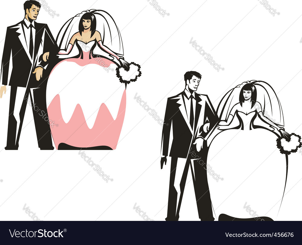 Bride and groom characters vector | Price: 1 Credit (USD $1)