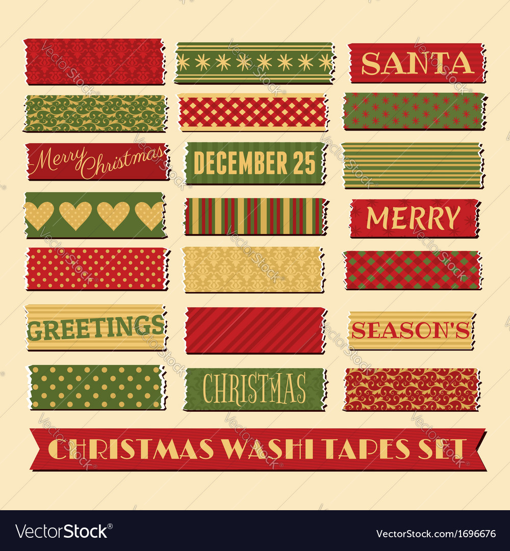 Christmas washi tape strips collection vector | Price: 1 Credit (USD $1)