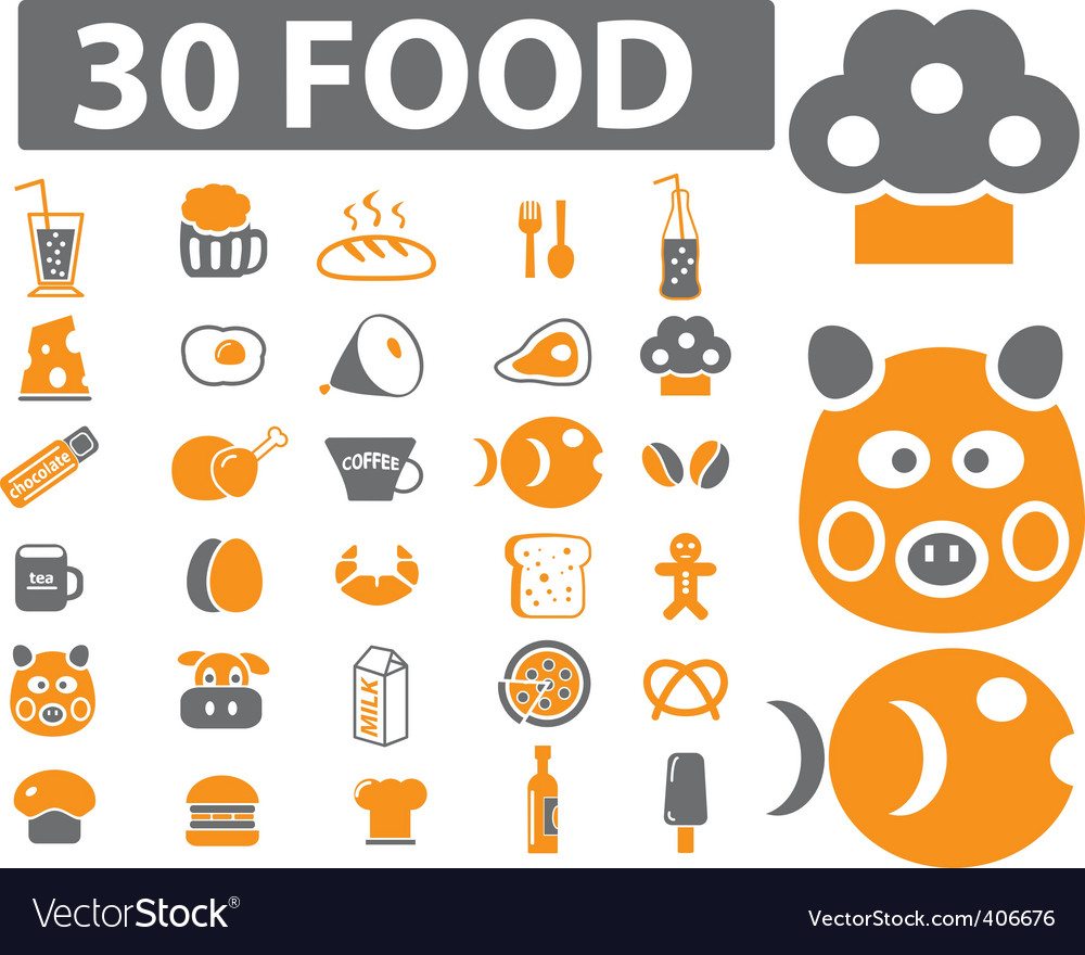 Food signs vector | Price: 1 Credit (USD $1)