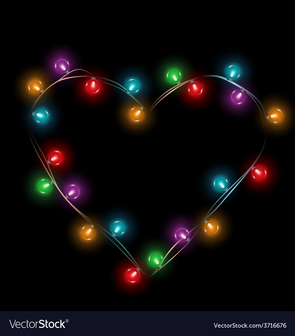 Multicolored glassy lights like heart frame vector | Price: 1 Credit (USD $1)