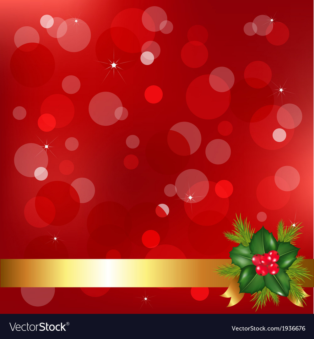 Red christmas background with holly berry vector | Price: 1 Credit (USD $1)