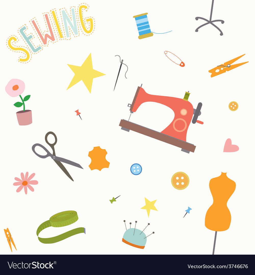 Seamless pattern with sewing tools vector | Price: 1 Credit (USD $1)
