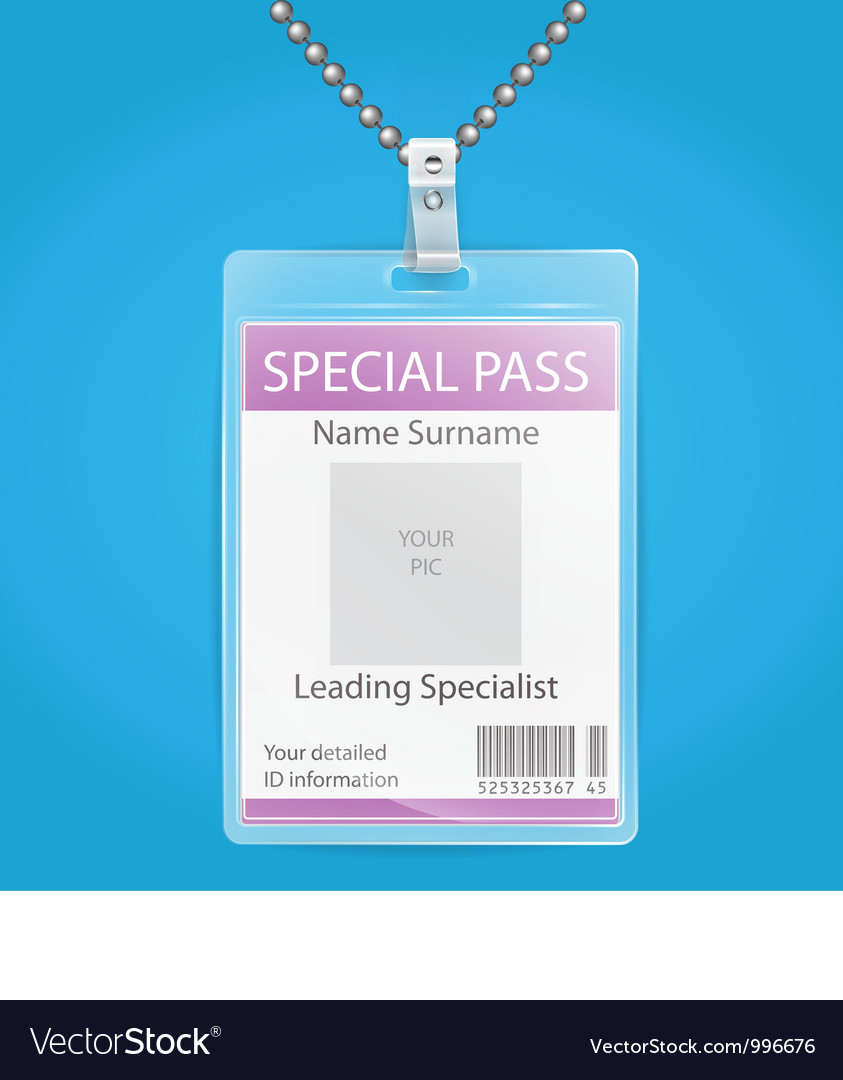 Transparent plastic id holder for any background vector | Price: 3 Credit (USD $3)