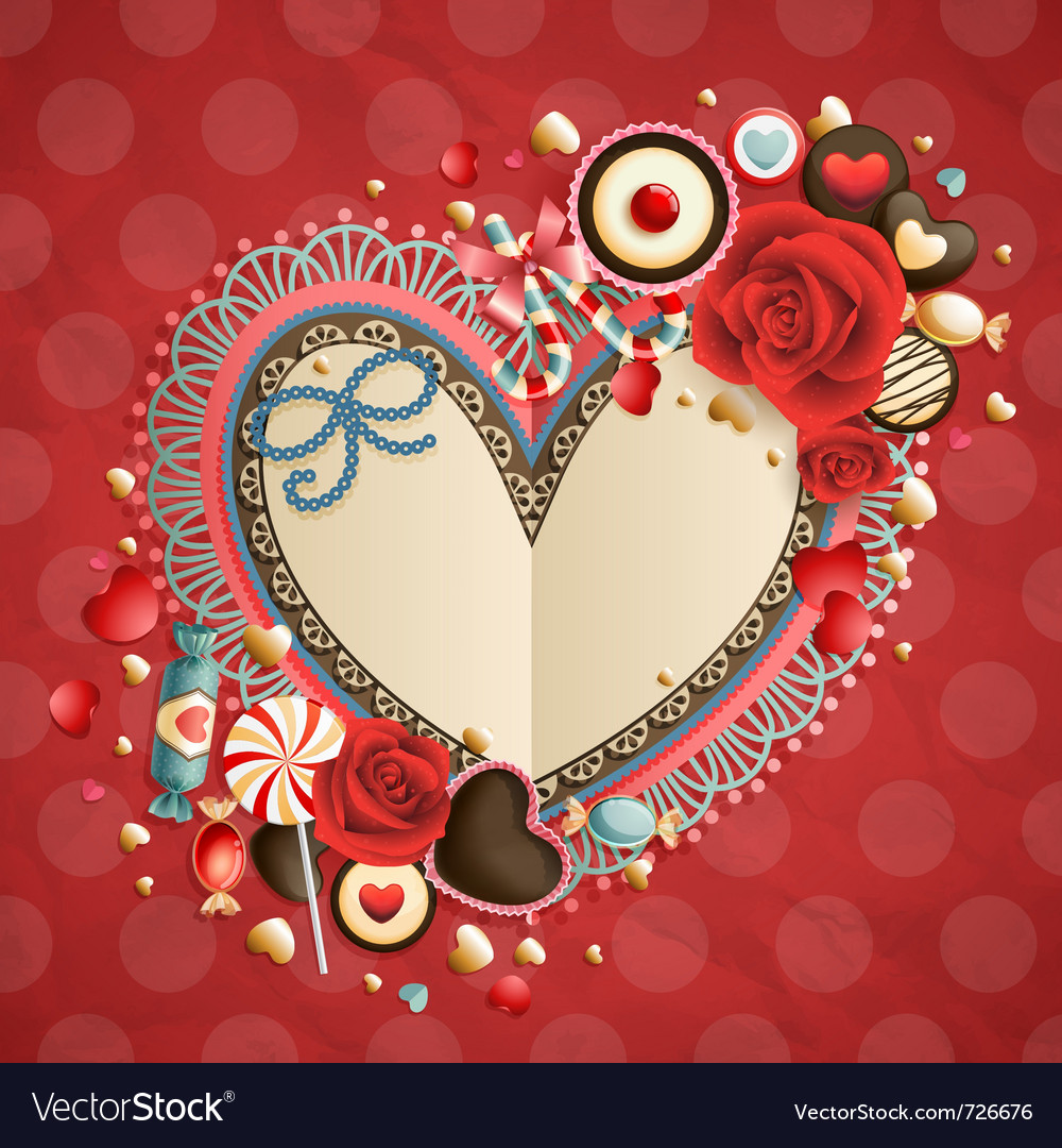 Valentines day vintage card vector | Price: 3 Credit (USD $3)