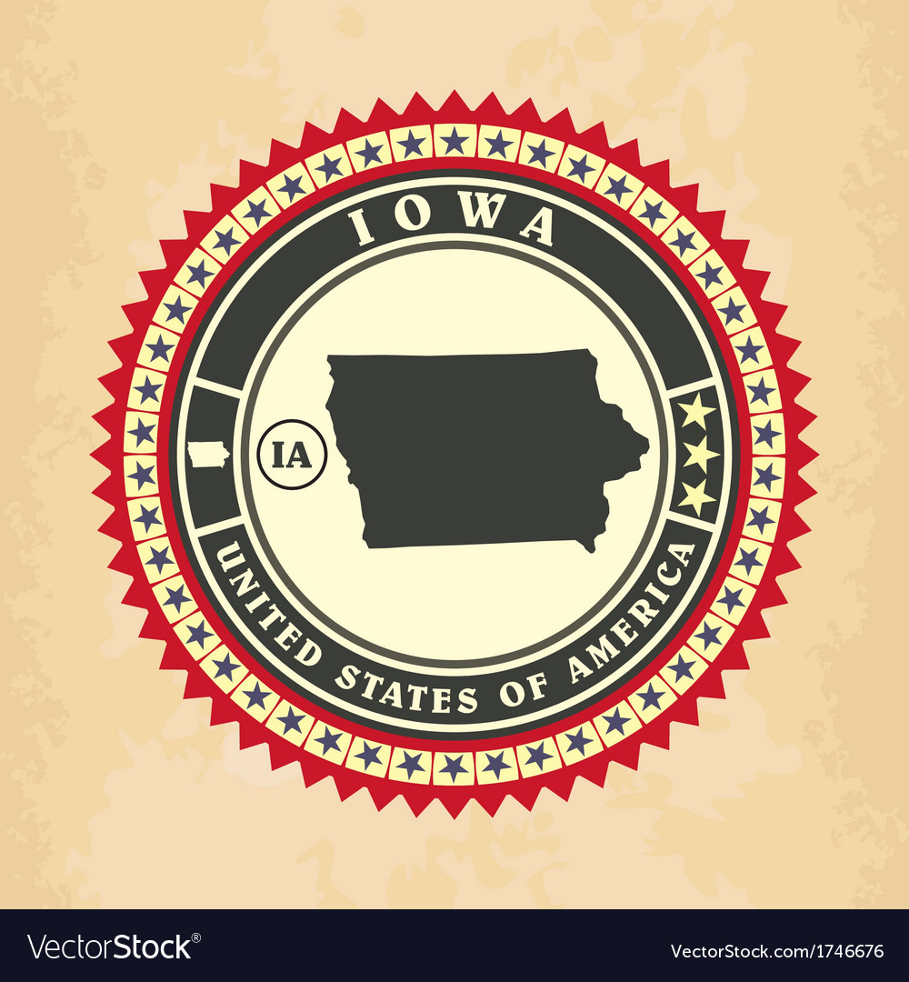 Vintage label-sticker cards of iowa vector | Price: 1 Credit (USD $1)