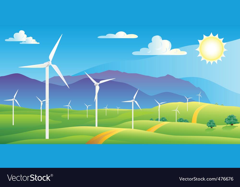 Wind turbines farm vector | Price: 1 Credit (USD $1)