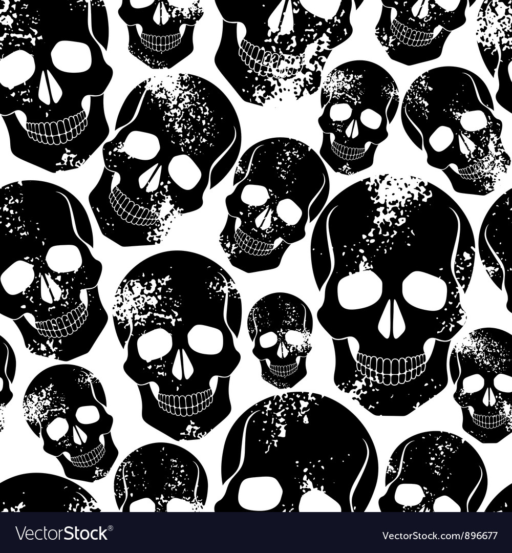 Black skulls seamless pattern vector | Price: 1 Credit (USD $1)