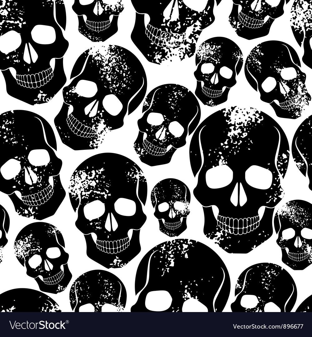 Black skulls seamless pattern vector | Price: 1 Credit (USD $1)