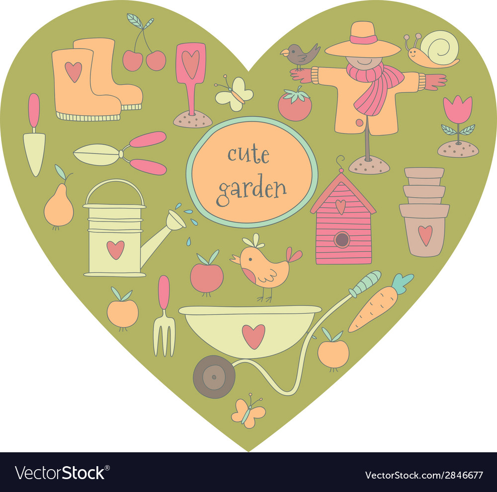 Garden heart vector | Price: 1 Credit (USD $1)