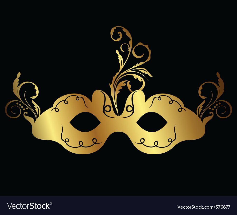 Gold floral carnival mask isolated vector | Price: 1 Credit (USD $1)